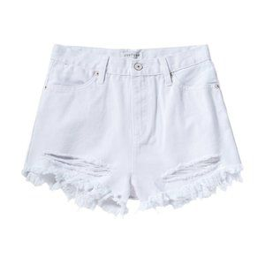 just usa • high waisted ripped shorts white